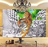 Lcymt 3Dキッズ壁紙タイガーダウン壊れた壁大壁画用キッズ子供部屋の壁壁画リビングルームテレビソファ背景壁-250X175Cm