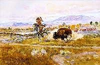手描き-キャンバスの油絵 - fighting meat 1925 Charles Marion Russell 芸術 作品 洋画 ウォールアートデコレーション -サイズ08