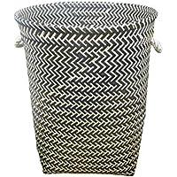 ランドリーバスケット オプションのプラスチックマルチカラー仕上げの超大型織物収納 ZHANGQIANG (色 : Black-Gold, サイズ さいず : 36 * 42cm)