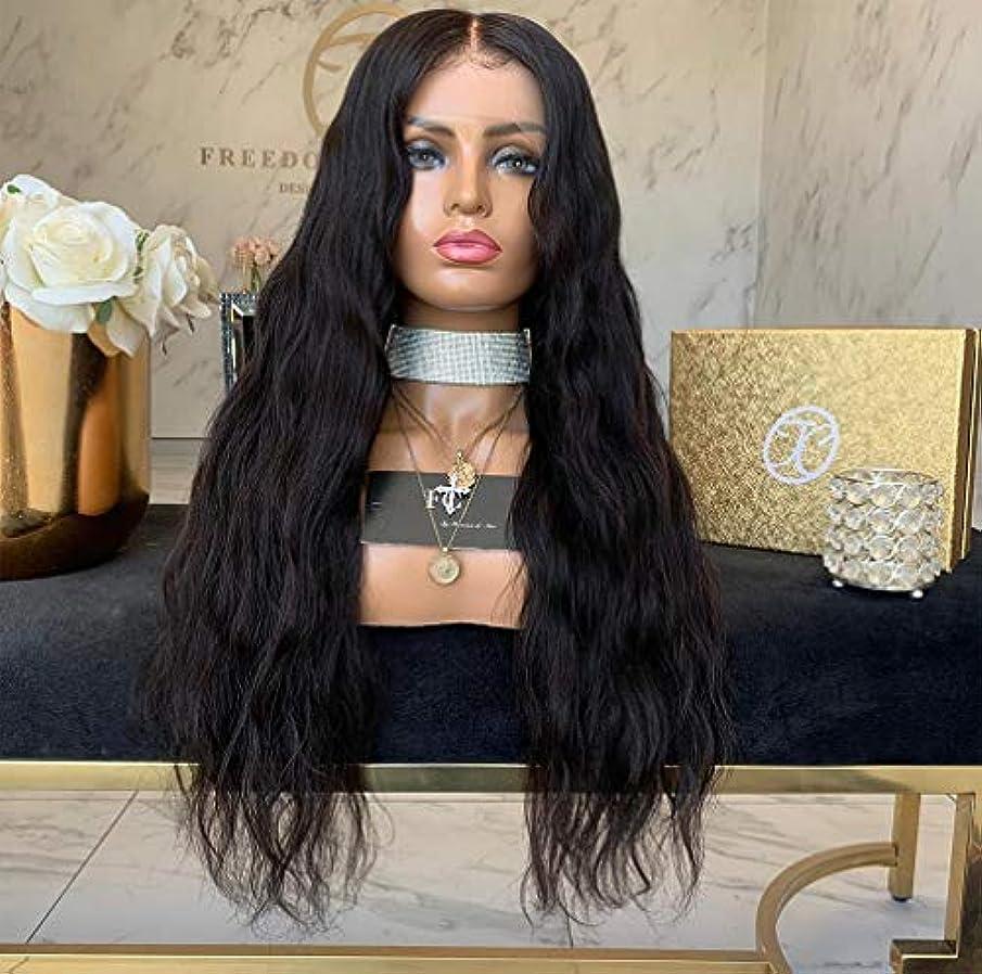大脳締めるマントル女性かつら13 * 4レース前頭ディープカーリーウィッグ耐熱合成繊維人間の髪の毛をpreplucked 150%密度