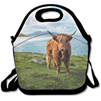 Highland Cow By The Sea ランチバッグ 断熱ランチボックス