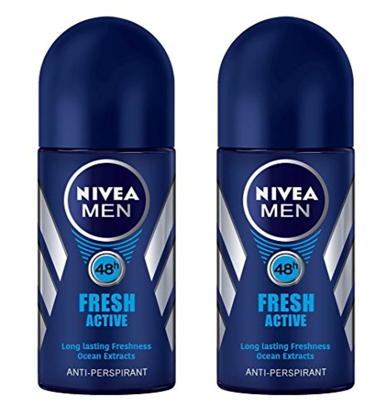 霜証拠割り当てます(Pack of 2) Nivea Fresh Active Anti-perspirant Deodorant Roll On for Men 50ml - (2パック) ニベア新鮮なアクティブ制汗剤デオドラントロールオン...