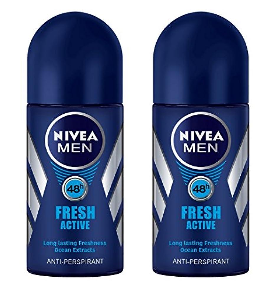 酸素根絶するごちそう(Pack of 2) Nivea Fresh Active Anti-perspirant Deodorant Roll On for Men 50ml - (2パック) ニベア新鮮なアクティブ制汗剤デオドラントロールオン...