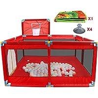 折り畳まれた赤ちゃんの遊び場バスケットボールのフープとマットと子供の少年少女遊ぶペン部屋8パネルディバイダー屋内屋外オックスフォード布 (色 : Red)