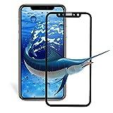 iphone x ガラスフィルム lakukoudou iphone x 液晶保護フィルム 9H強化ガラス 全面衝保護 フルセット 高透過率 防指紋 気泡レス スムースタッチ(ブラック)