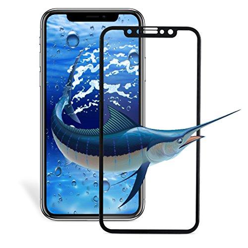 【lakukoudou】iphone ガラスフィルム iPhone液晶保護フィルム 9H強化ガラス 5D曲面全面衝保護 フルセット 高透過率 防指紋 気泡レス スムースタッチ (5.8, black)