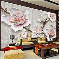 Xbwy 3Dカスタム写真の壁紙レリーフ梅の花の鳥の壁画のリビングルームの研究家の装飾-350X250Cm
