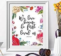 We Loveため彼は最初Loved Us Framed Print–ウェディング印刷可能な引用–ホーム飾り–ウォールアート–ウェディングSign聖書ポスター–ラブギフト–ベッドルームの装飾
