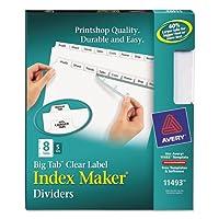 Avery–インデックスMaker with Bigタブ、11x 8–1/ 2、8-tab、ホワイト、5セット/パック11493( DMI PK