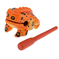 Baoblaze 高品質 ユニークな カエルの形 木製 手工芸品 カエルの音を楽しむ 全5色 - オレンジ