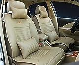 (ファーストクラス)FirstClass フロント リア カーシートカバー シートクッションセット PUレザー 縫いあがり ベージュ 通用 フィットハッチバック カローラ シティ キア サニー S230 400 10pcs