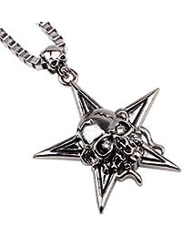 More Funパンクスタイル特別な五角形ネックレスメッキPentacle Star withスカルペンダントネックレス