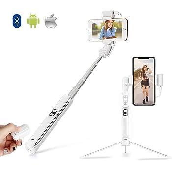 HSU スマートフォン用 自撮り棒 補助光 三脚一脚兼用 Bluetooth リモコン 360度回転 無線 軽量 iPhoneXS/XR/X/8/8plus/7/6/Android対応 日本語説明書付き (ホワイト)