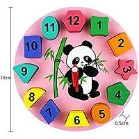 幼児期のゲーム かわいいパンダ木製の時計おもちゃ早期学習時間の数の形の子供のための色の動物の認知のおもちゃ