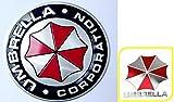 バイオハザード アンブレラ社 ロゴ 金属 エンブレム + ミニステッカー 2点セット / 車 カー バイク アクセサリー ステッカー シール