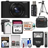 Sony Cyber - shot DSC - wx500デジタルカメラ(ブラック)とWi - Fi 32GBカード+バッテリー&充電器+ケース+三脚+フラッシュ+キット