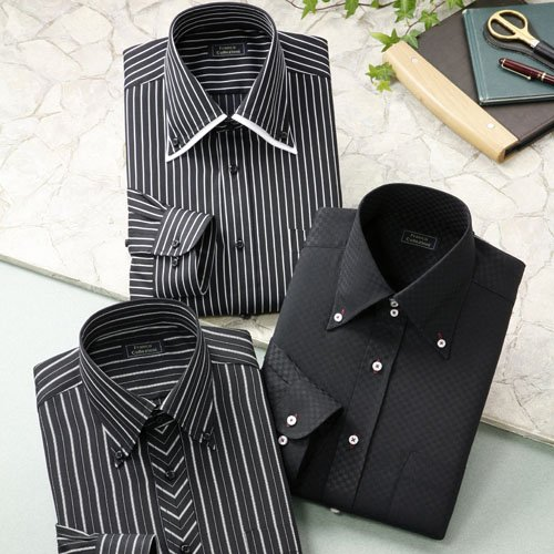 ドレスシャツ 長袖 3枚組 (ブラック系) [LL]