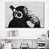 Djモンキーウォールアートhdプリントキャンバスアート動物キャンバス絵画ウォールアートモジュラー写真用リビングルームの装飾60×90センチメートルいいえフレーム