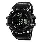 Ommda メンズ 腕時計 防水 スポーツウォッチ LED デジタル ブルートゥース 歩数計 活動量計 カロリー 着信電話 SMS APP 通知 時計 リモートカメラ ブラック