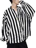 BeiBang(バイバン) メンズ 長袖シャツ ゆったり ストライプシャツ ストリート オーバーサイズ トップス 秋 オーバーシャツ