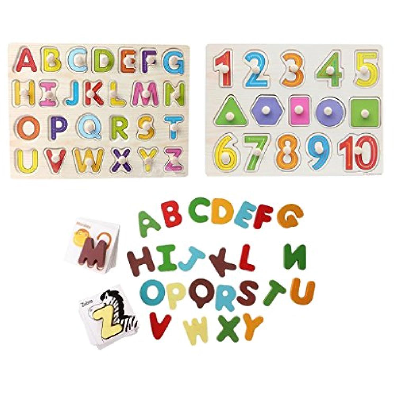 monkeyjackベビーキッズ子供教育玩具ギフト木製動物認識機能カードとアルファベット英語文字アルファベット番号図形ジグソーパズルボードトレーニングゲーム