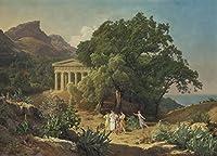 フレーム Ferdinand Georg Waldmuller ジクレープリント キャンバス 印刷 複製画 絵画 ポスター(シチリア島のドリック寺院)