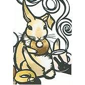 ねこの引出し 猫切り絵作家「さとうみよ」のポストカード「ドーナツ 兎」