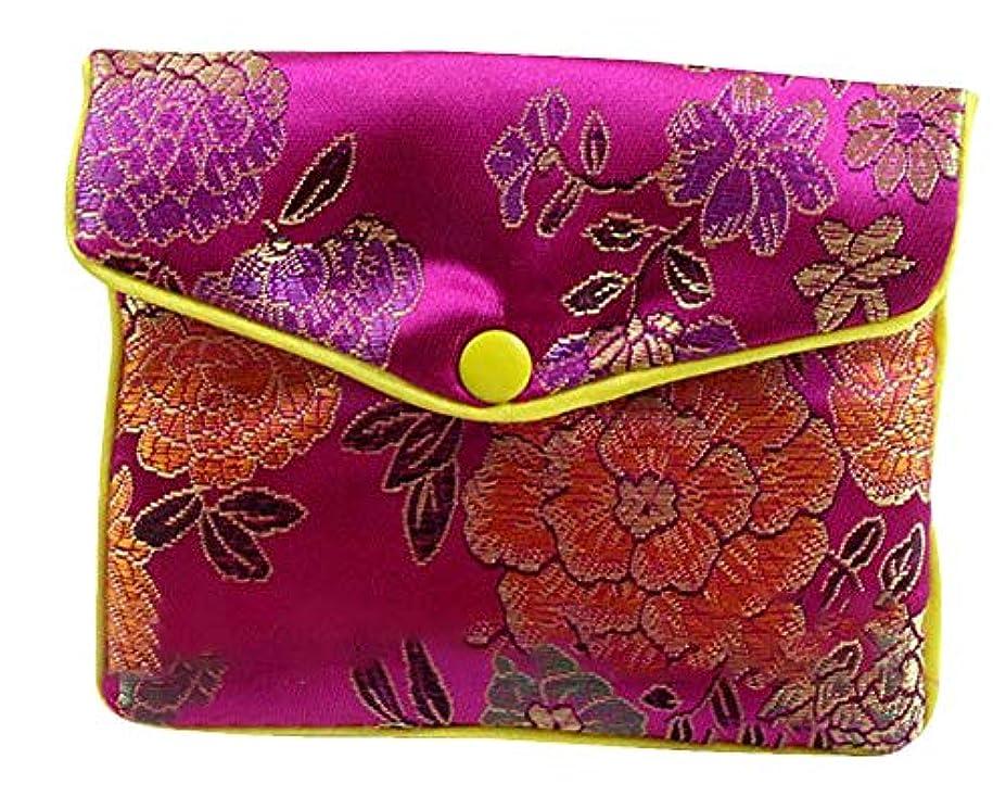 口実群集多数のPlus Nao(プラスナオ) ジュエリーポーチ 小物入れ ミニ財布 ファスナー付き アジアン 古風 刺繍 花柄 全5種類 レディース