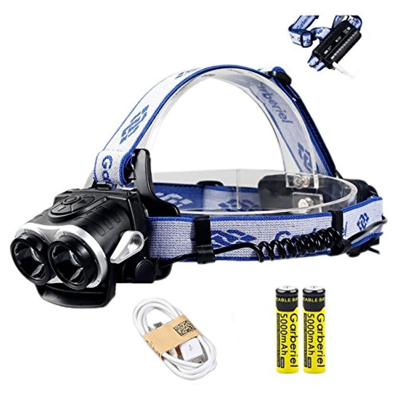 厚いシステムダニ超高輝度 3000ルーメン 充電式 防水仕様 18650電池&充電器付属 2灯式 3段階の点灯モード 登山 夜釣り アウトドア作業 SOSフラッシュ機能