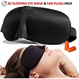 3D Sleep Eye Mask & Ear Plug Pack Padded Comfortable Sleeping Mask Noise Cancellation Silicon Ear Plugs
