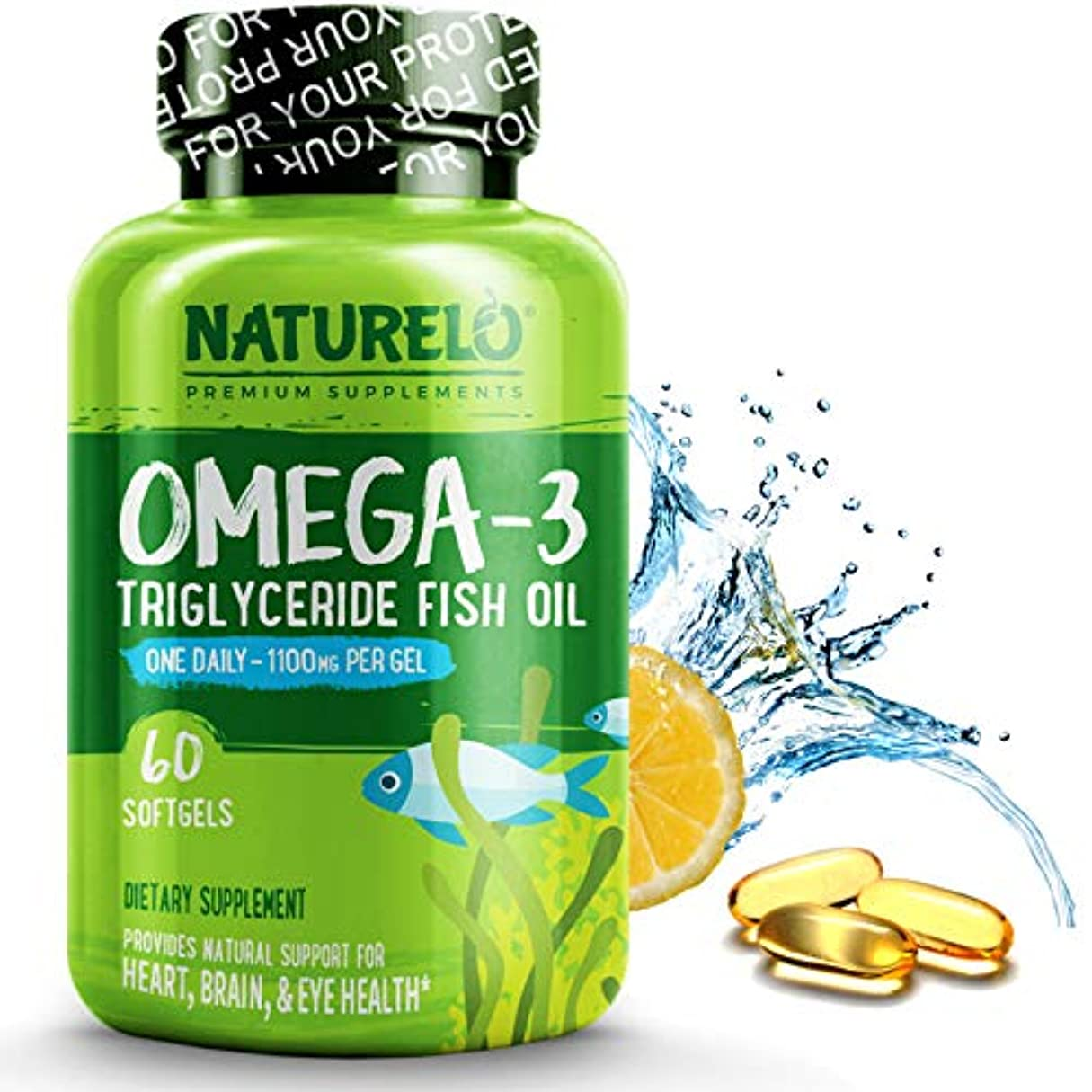 すなわちスチールヘルパーNATURELO プレミアム オメガ3 フィッシュ オイル (60ソフトカプセル) Premium Omega-3 Fish Oil - 1100 mg Triglyceride Omega 3 - High Strength...
