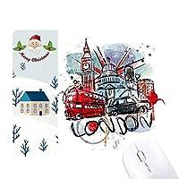 ロンドン・バス・ビッグベンは英国のランドマークの水彩画のイラストパターン サンタクロース家屋ゴムのマウスパッド