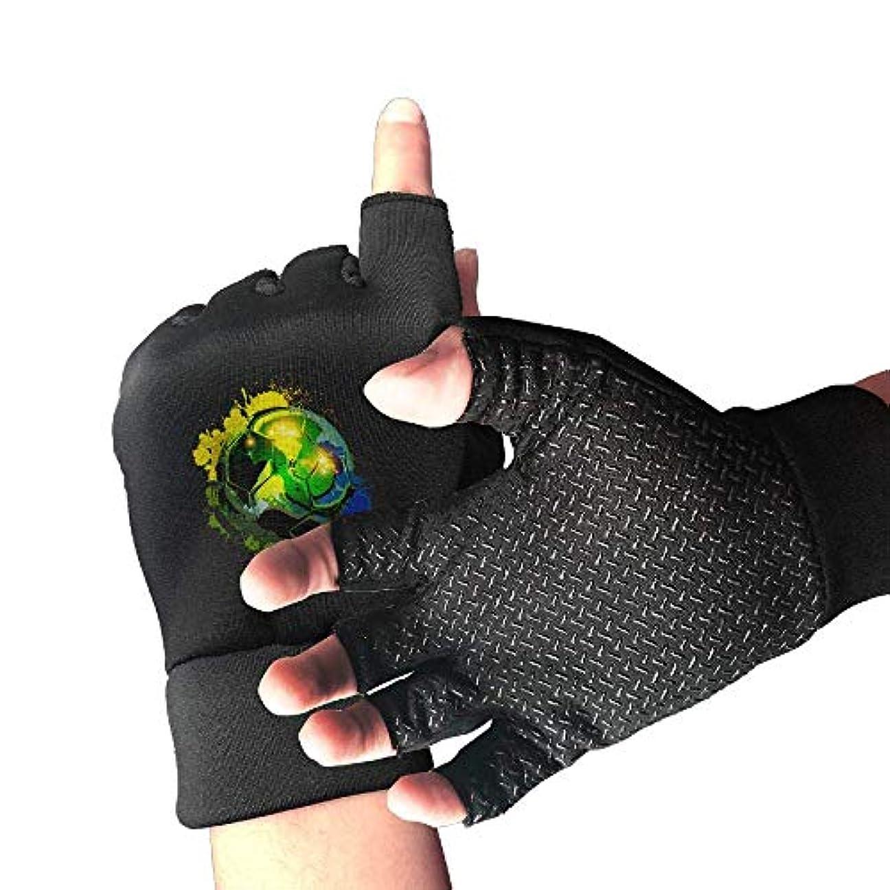 ステーキ調和膿瘍Cycling Gloves Green Football Men's/Women's Mountain Bike Gloves Half Finger Anti-Slip Motorcycle Gloves