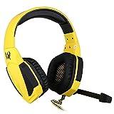 SRI SHOP EACH G4000高音質 密閉型 音量調節可能ヘッドホン マイク/LEDライト付きPCゲーム用有線ヘッドバンド ソフトレザー式 ブラック 黄色い