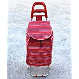 2 Wheels Shopping Trolley Bag Foldable Market Luggage Collapsible CL2160 (red)