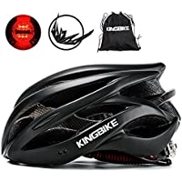 KINGBIKE 自転車 ヘルメット 大人用 ロードバイク/サイクリング ヘルメット 超軽量 高剛性 LEDライト・ヘルメットレインカバー付き 男女兼用 56-60CM M/L