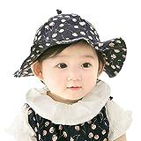 赤ちゃん 帽子 ベビー キャップ 日よけ 帽子 ガールズ 女の子 幼児 ハット 春 夏 紫外線対策 UVカット 可愛い つば付バイザー 6ヶ月から3歳 子供用帽子 おしゃれ なし柄 チェリー柄 お出かけ アウトドア