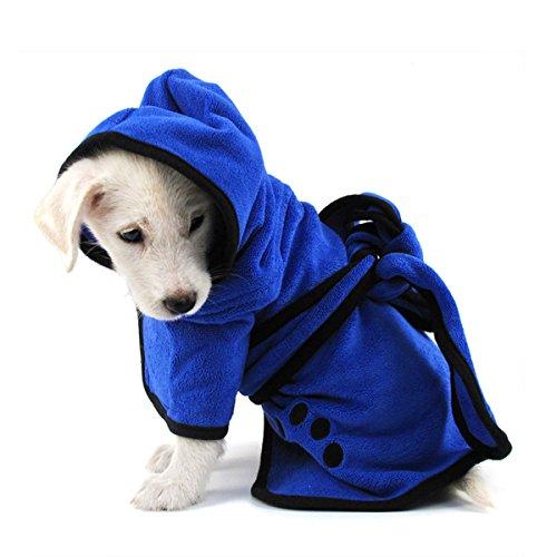 PETCUTE ペット用バスローブ 犬用バスタオル 吸水速乾 マイクロ ファイバー 超吸水 ペット用 タオル 犬 猫 体拭き タオル お風呂タオル ふわふわ ブルー M