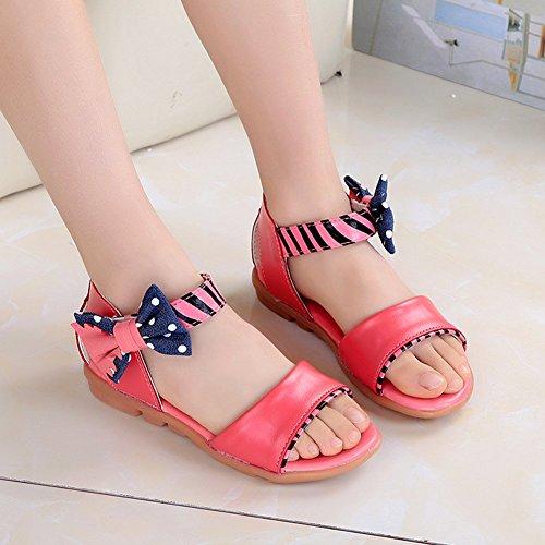 (チェリーレッド) CherryRed 子供靴 女の子 お嬢様 ジュニア 歩きやすい ビーチサンダル 柔らかい 真夏靴 かわいい 小さいサイズ 大きいサイズ リボン 32 レッド