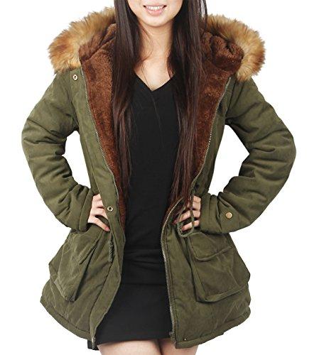iLoveSIA (アイラブシア) レディーズ コート ダウン ジャケット 防寒服 裏ボア フード付き 深緑 L「XL実物サイズタグ」