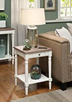 Convenience Concepts French Country End Table with Drawer and Shelf, Driftwood/White [並行輸入品]