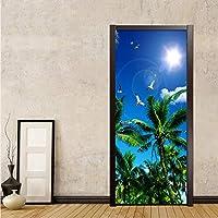Xbwy Hd青空ココナッツ椰子の写真の壁紙リビングルームの寝室の家の装飾のドア壁画Pvc自己接着防水3Dウォールステッカー-280X200Cm