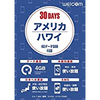 ULTRAMOBILE アメリカ・ハワイ専用プリペイドSIM (4GB/30日間) 4G/LTE/3G 通話・SMS無料