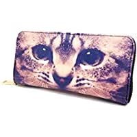 インパクト抜群 ネコ 顔 クールで 長財布 両面 デザイン