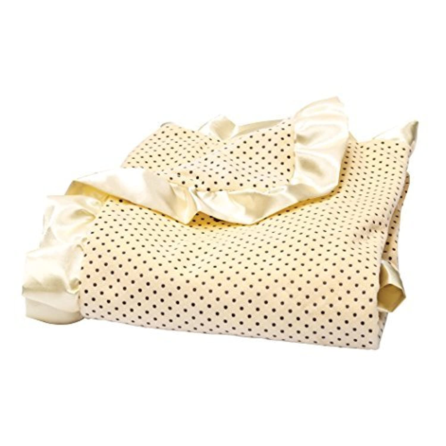 Trend Lab Banana Cream Delightful Dot Velour and Satin Receiving Blanket by Trend Lab