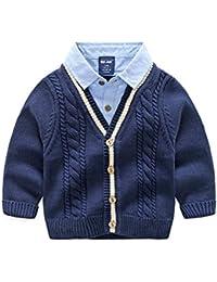 e08b283ca9c00 FEVON カーディガン 子供 男の子 長袖 春秋 コート キッズ ボーイズ ニット シャツ襟 フェイクレイヤード かっこいい ニットカーディガン  男児 ニットセーター 前開き…