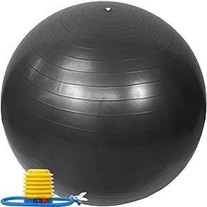 EGS(イージーエス) バランスボール アンチバースト仕様 ポンプ付き ブラック 65cm EG-3062