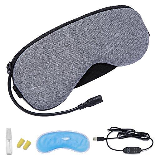 BINMAホットアイマスク タイマー機能 アイマスク USB 電熱式 疲労 癒し 血行促進 仮眠快眠グッズ安眠 遮光性抜群 男女兼用 疲労回復 収納ケース付き (グレー・無味)