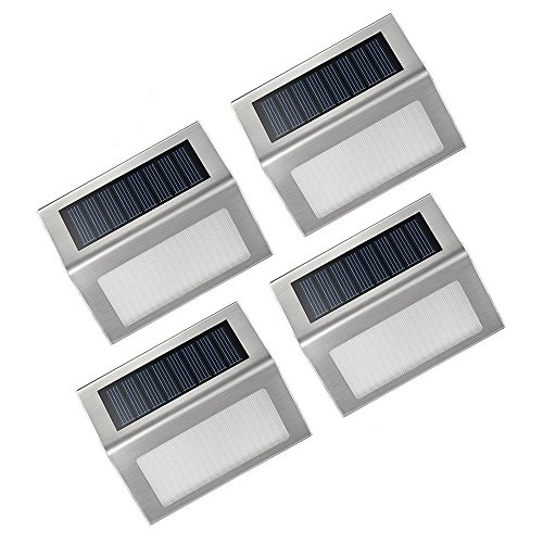 Patech ソーラーライト ステップライト アウトドアライト 防水 太陽発電 省エネ 屋外照明/ステップ/軒先/庭/ガーデン/ドライブウェイ/玄関周りなどの照明用(四点セット)