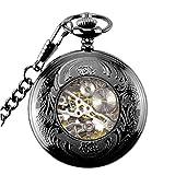 dailymall レトロなスチームパンク機械式懐中時計手風の刻印メタルブルー、ブラック